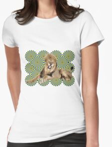 Roar Leo optical ilusion Womens Fitted T-Shirt