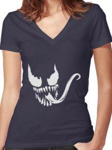 Venom Face Women's Fitted V-Neck T-Shirt