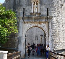 Dubrovnik bridge to entrance of old town.  by machka