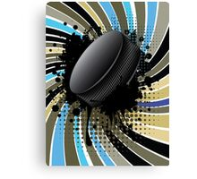 Hockey Puck on Background with Rays Canvas Print
