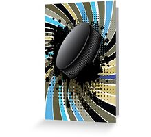 Hockey Puck on Background with Rays Greeting Card