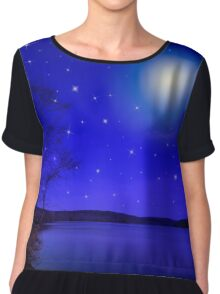 Moon and Stars Landscape Chiffon Top
