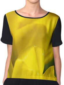 Yellow Flower Abstract Chiffon Top