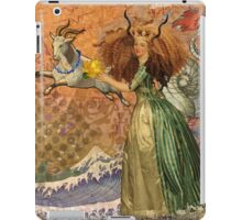 Vintage Golden Woman Capricorn Gothic Whimsical Collage iPad Case/Skin