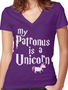 My Patronus Is A Unicorn T Shirt Women's Fitted V-Neck T-Shirt