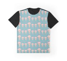 Jellyfish Blue White Bold Stripes Graphic T-Shirt
