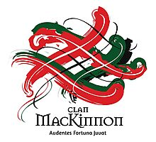 Clan Mackinnon - Prefer your gift on Black/White tell us at info@tangledtartan.com  Photographic Print