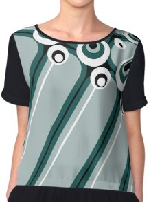 Hyper modern abstract design cyan Chiffon Top