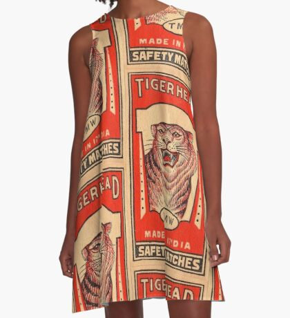 Tiger Head Safety Matches - India A-Line Dress