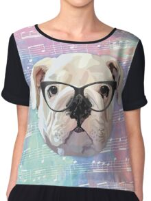 Singing Bulldog Chiffon Top