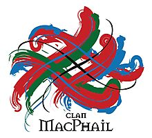 Clan MacPhail - Prefer your gift on Black/White tell us at info@tangledtartan.com  Photographic Print