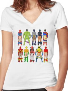 Superhero Butts Pattern on Black Women's Fitted V-Neck T-Shirt