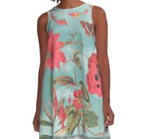 Watermelon Flowers and Turquoise Sky A-Line Dress