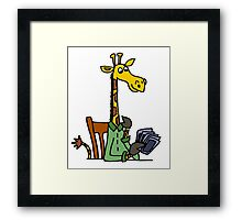 Cool Funky Yellow Giraffe Playing Card game Framed Print