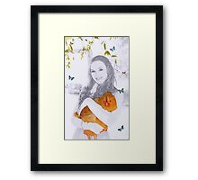 A Girl and her pet Hen Framed Print