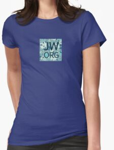 JW.org (white and blue flowers) Womens Fitted T-Shirt