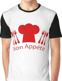 Bon Appetit Red French Chef's Hat Graphic T-Shirt