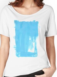 Blue grunge impressionistic watercolor splash drawing Women's Relaxed Fit T-Shirt