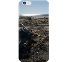 Backlit anchors on sandy beach with seaweed iPhone Case/Skin