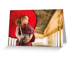 Monk and Parasol - Bagan, Myanmar Greeting Card