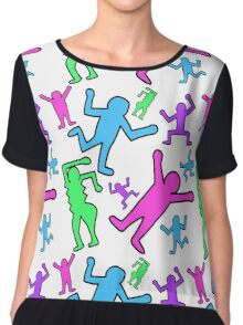 Keith Haring Inspired Pop Art Pattern Chiffon Top
