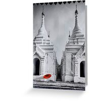Stupas and Red Parasol - Mandalay, Myanmar Greeting Card