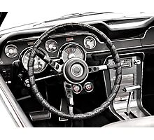 Steering Wheel in black and white Photographic Print