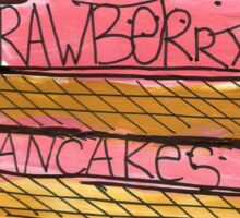 Watercolor acrylic drawing of pancakes with strawberry cream Sticker