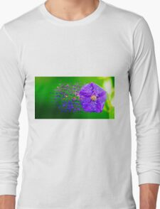 Digitally manipulated purple garden flower with lush green background  Long Sleeve T-Shirt