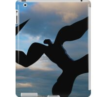 Sculpture of person throwing a paper aeroplane iPad Case/Skin