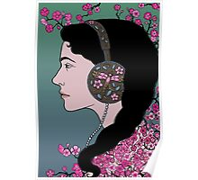 Girl In Headphones Poster