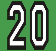 20, TEAM SPORTS, NUMBER 20, TWENTY, TWENTIETH, Competition,  One Piece - Short Sleeve