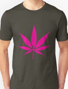 Pink Cannabis Weed Leaf Silhouette T-Shirt