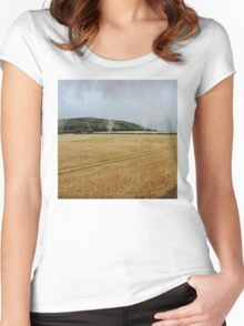 Countryside from a steam train Women's Fitted Scoop T-Shirt
