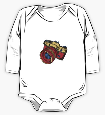 Classic 35mm SLR Camera in Fall Colors One Piece - Long Sleeve