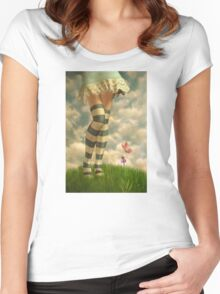 Cute Girl with Striped Socks Women's Fitted Scoop T-Shirt