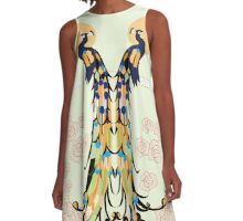 Golden Peacocks A-Line Dress
