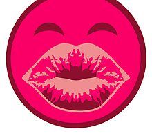 Kiss mouth face Smiley Pink Girl by Style-O-Mat