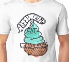 Watercolor acrylic blue cupcake drawing keep calm text Unisex T-Shirt