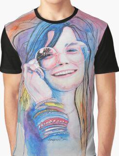 Janis Joplin in watercolor painting Graphic T-Shirt