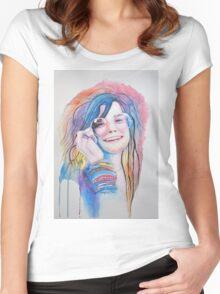 Janis Joplin in watercolor painting Women's Fitted Scoop T-Shirt