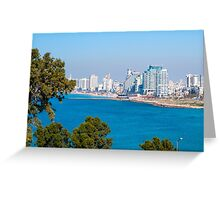 Israel, Tel Aviv coastline as seen from south from Old Jaffa Greeting Card
