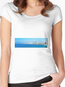 Israel, Tel Aviv coastline as seen from south from Old Jaffa Women's Fitted Scoop T-Shirt