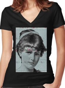 Blue Victorian Lady Floral Steampunk Women's Fitted V-Neck T-Shirt
