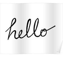 Hello script text font Poster