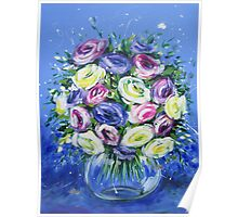 Mixed rose bouquet on vintage blue Poster
