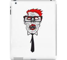krawatte nerd geek streber freak hornbrille pickel spange zombie lustig gesicht kopf untot horror monster halloween  iPad Case/Skin