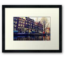 Amsterdam canal scene Framed Print