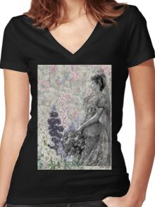 Victorian Floral Woman Lavender Pink Flowers Women's Fitted V-Neck T-Shirt