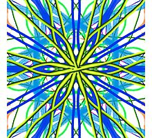 Mandala On White With Yellow And Blue Photographic Print